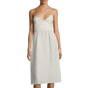 Theory White Melaena Striped Linen Dress 00